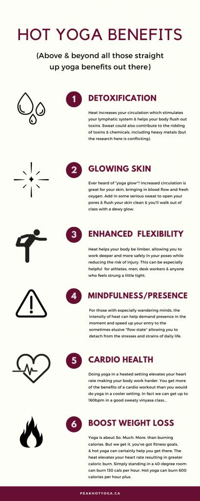 Benefits of hot yoga: detoxification, glowing skin, enhanced flexibility, mindfulness, presence, cardio health, boost weight loss